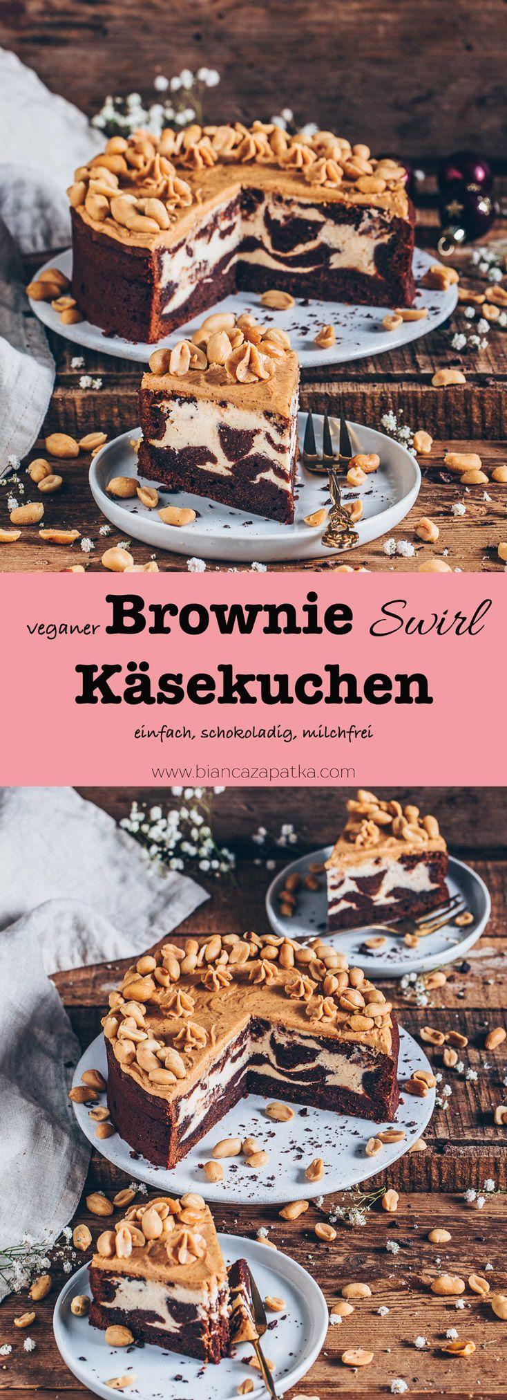 Brownie-Käsekuchen (einfach, vegan)