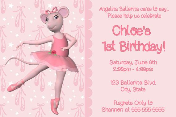 Angelina Ballerina Digital Invitation by preciouspixel on Etsy