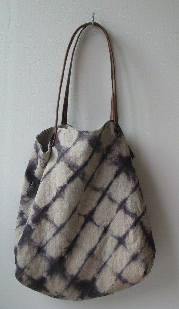 Shibori linen tote by CAShandmade on Etsy, $50.00                                                                                                                                                     More