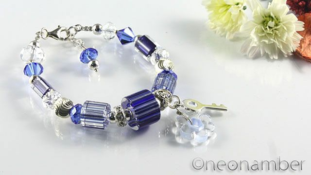 Blue sapphire furnace glass beads with sterling silver