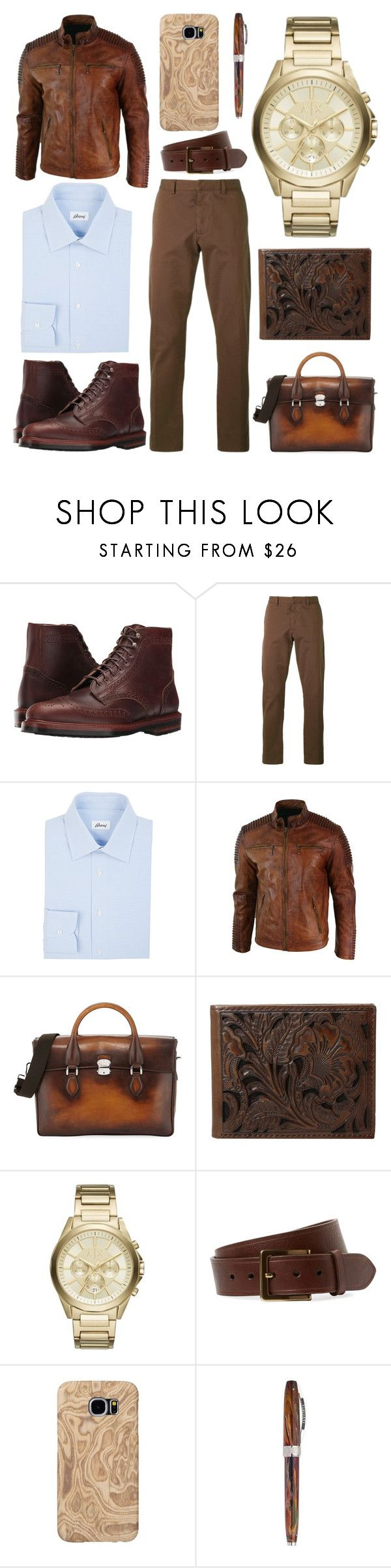 """""""Blue and Brown"""" by creation-gallery on Polyvore featuring Eastland, AMI, Brioni, Berluti, Ariat, Armani Exchange, Bryant Park, Samsung, Visconti and men's fashion"""