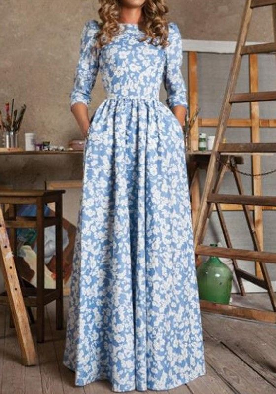 Blue Floral Print Pleated Boat Neck 3/4 Sleeve Chiffon Maxi Dress