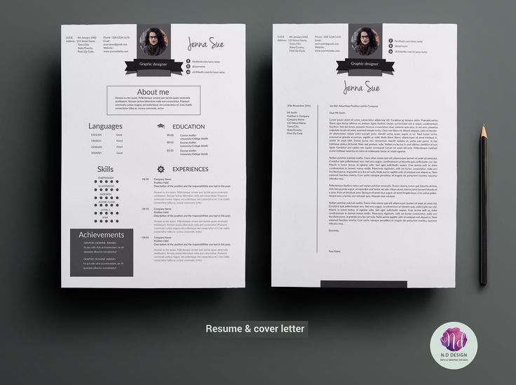 CV template , cover letter template by Chic templates on @creativemarket