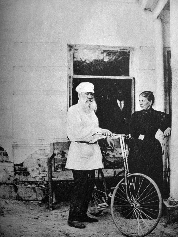 """Leo Tolstoy, c. 1895. (From """"Photos of Famous Authors and Their Bikes"""" @ flavorwire.com)"""