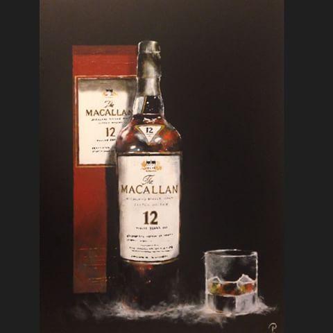 #painting #macallan #whisky #whiskey#comission #ontherocks #scotch #singlemalt #art #artist #artwork #picture #canvas #acrylic #bottle #galleri #gallery #is #ice #bottle #scotland #skottland #sold