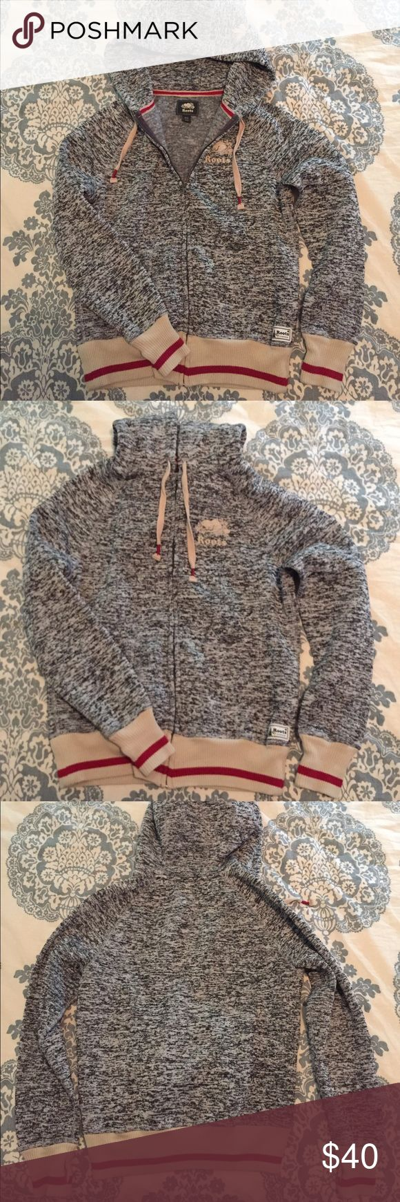 Roots Boyfriend Hoodie size medium Roots Canada Boyfriend Hoodie in black and grey mix, size medium. Brand new without tags. Interior is soft grey fleece, very cozy. It does run a bit large/oversized as it is their boyfriend fit. Roots Tops Sweatshirts & Hoodies