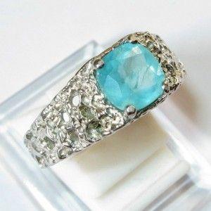 Apatite Paraiba Silver Ring 10US