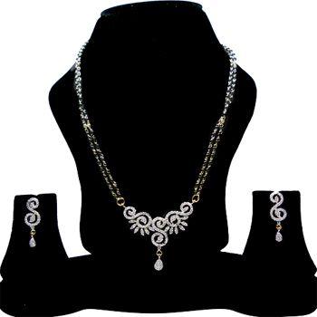 White American Diamond Studded Mangalsutra