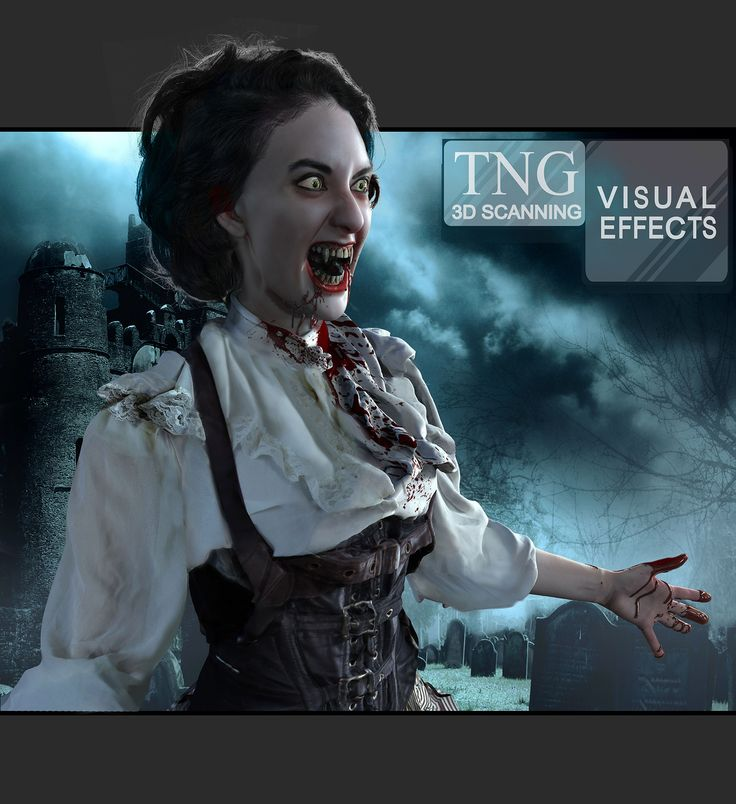 SPOOKY! This Vampire character was made with 3D scans. We added in all the gory details that we wanted. That's what we do in Visual Effects!