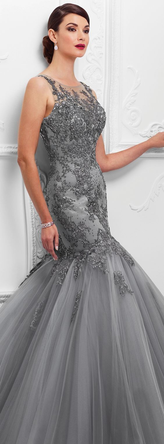 Mermaid Prom Dress With Beading,Open Back Lace Evening Dress,254