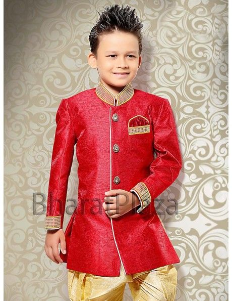 Dress up your little master in this red color raw silk indo western sherwani that will certainly make him look smart and stylish.