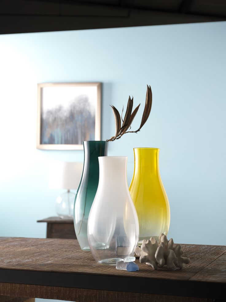 these beautiful vases add a pop of color for your spring Floating Shelves Ideas Floating Shelves Ideas