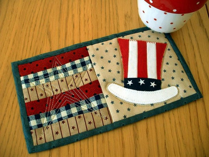 Uncle Sam Mug Rug - a little touch of Americana for the home.