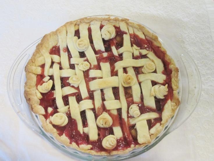 Pastel de ruibarbo y fresas con menos azúcar y delicioso :)