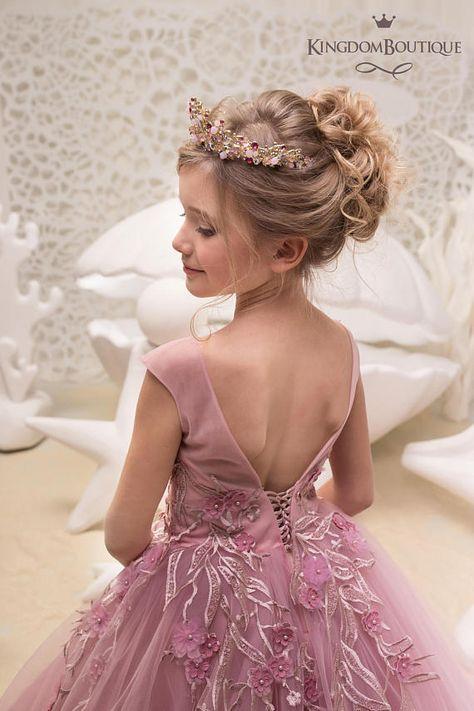 Blush Pink Flower Girl Dress - Birthday Wedding Party Holiday Bridesmaid Flower  Girl Blush Pink Tulle Lace Dress 21-063  f28c547d2799