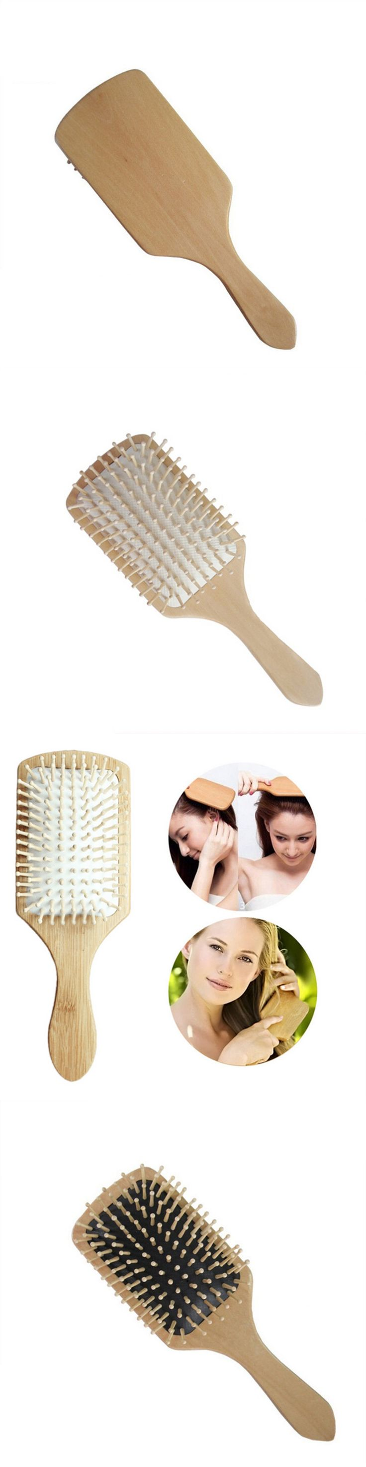 1pc Wooden Hair Brush Women Hair Care Spa Massage Comb Wooden Hair Brush Anti Static Paddle Teeth Cushion Comb Pointed Handle