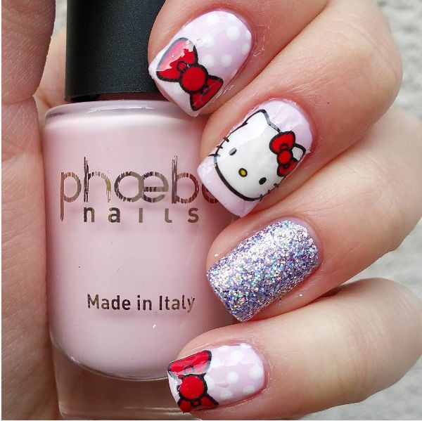 25 trending hello kitty nails ideas on pinterest kitty nails 50 cute bow nail art designs prinsesfo Gallery
