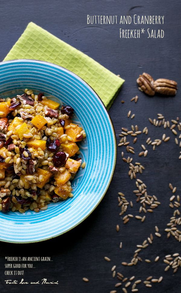 Butternut and Cranberry Freekeh Salad | taste love and nourish