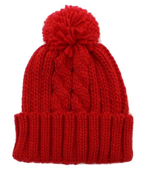 OLIVEdesOLIVE(オリーブデオリーブ)のポンポン付きニット帽(ニットキャップ/ビーニー)|レッド
