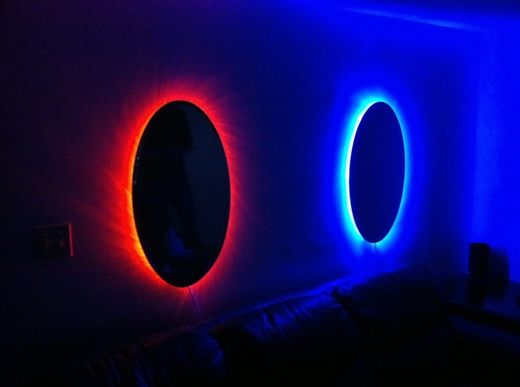 Portal mirrors - LED rope lighting behind. VERY cool :)