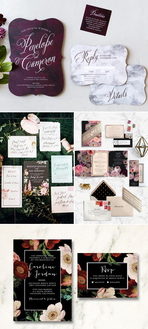 7 Top Wedding Invitation Trends for 2016 - Sophisticated Dark Colors