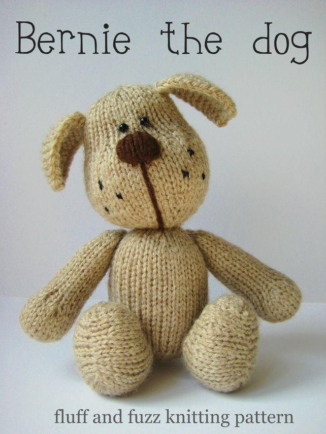 Bernie the dog toy puppy knitting pattern on Folksy