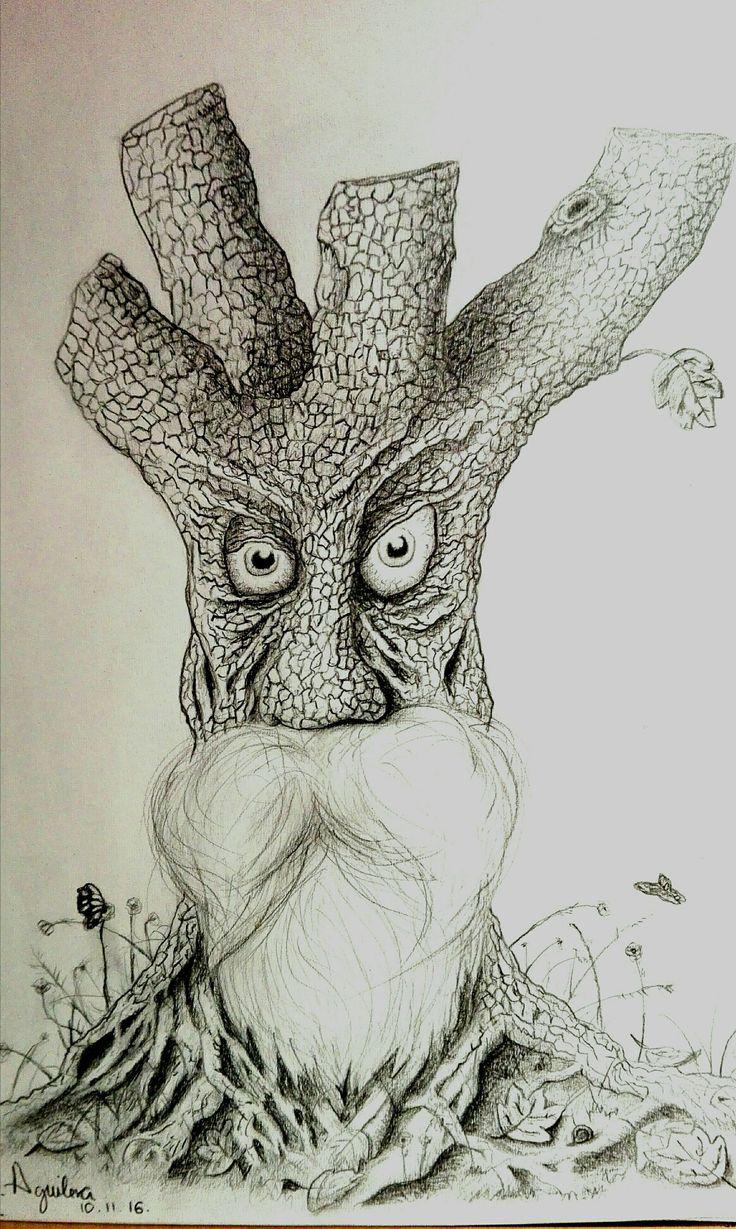 arbol anciano dibujo