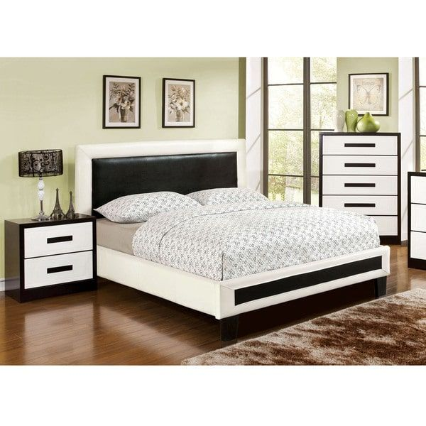 Furniture of America Blairess 2-piece Contemporary Duo-Tone Bed with Nightstand Set