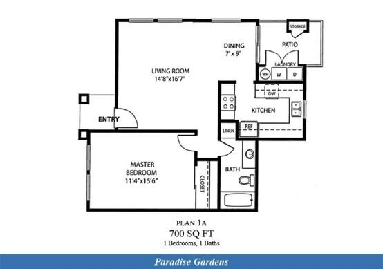 Naval Complex San Diego U2013 Paradise Gardens Neighborhood: 1 Bedroom 1 Bath  Apartment Floor Plan.   Naval Complex San Diego, CA   Pinterest   Apartment  Floor ...