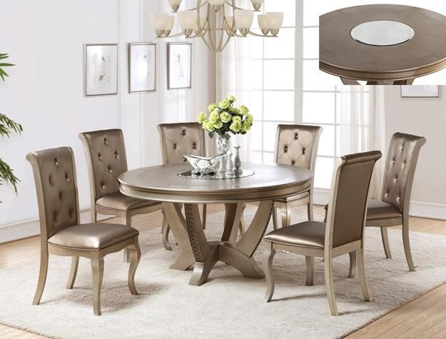 2772t 4854 6 Pc Regent Weathered Grey Finish Wood Counter Height Dining Table Set Round Pedestal Dining Table Modern Dining Room Set Pedestal Dining Room Table