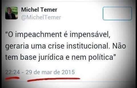 Temer e Cunha disseram que o atual impeachment é golpe antes de Dilma