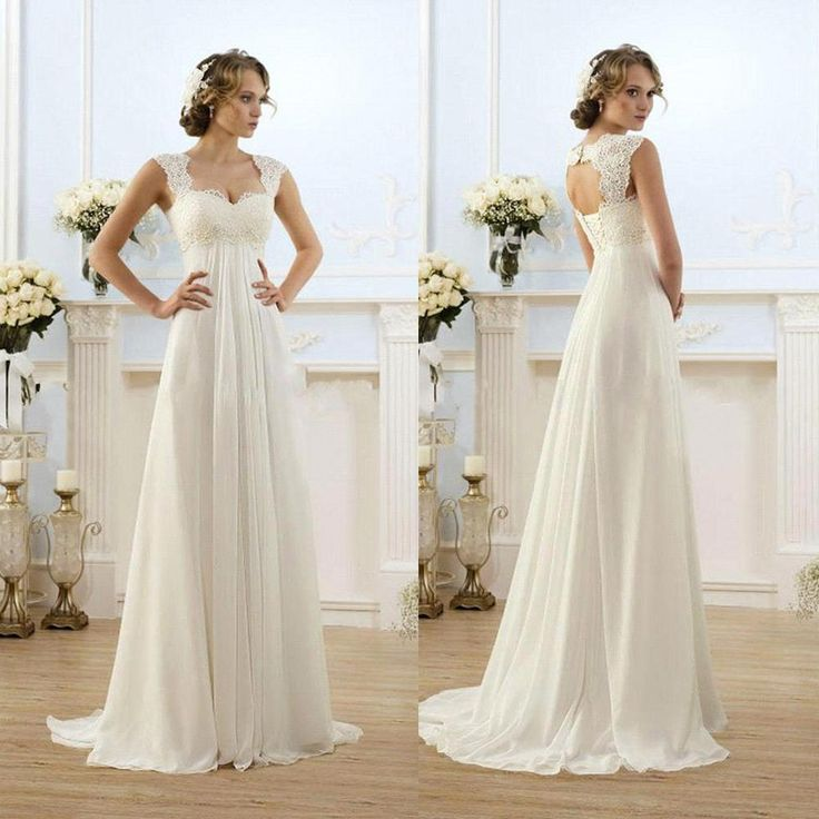 Wedding Dress Designs Vintage Modest Wedding Gowns Capped Sleeves Empire Waist Plus Size Pregant Wedding Dresses Beach Chiffon Country Style Bridal Gown Maternity Wedding Dresses 2011 From Luckymay, $82.73| Dhgate.Com