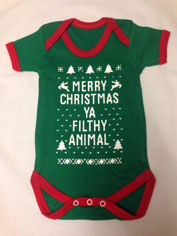 "XMAS Merry Christmas ""Ya Filthy Animal"" Funny Design Bodysuit Onesie"
