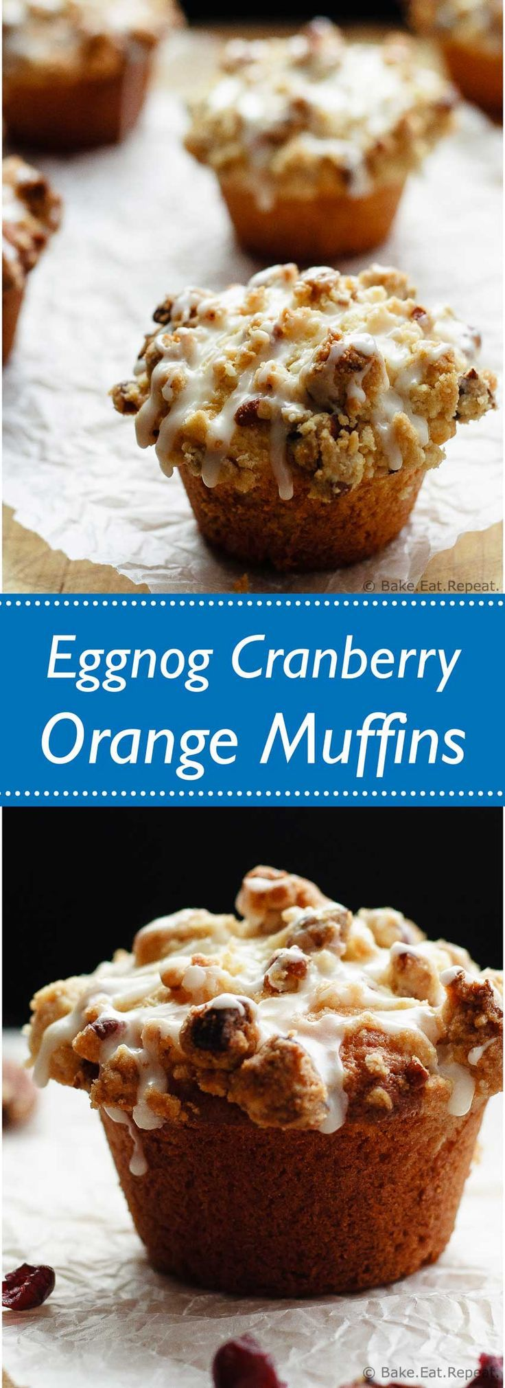 Eggnog Cranberry Orange Muffins - Tender, flavourful, amazing eggnog cranberry orange muffins - perfect for your Christmas breakfast plans!