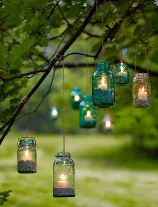 Country backyard wedding Mason Jar Lights Garden decorations