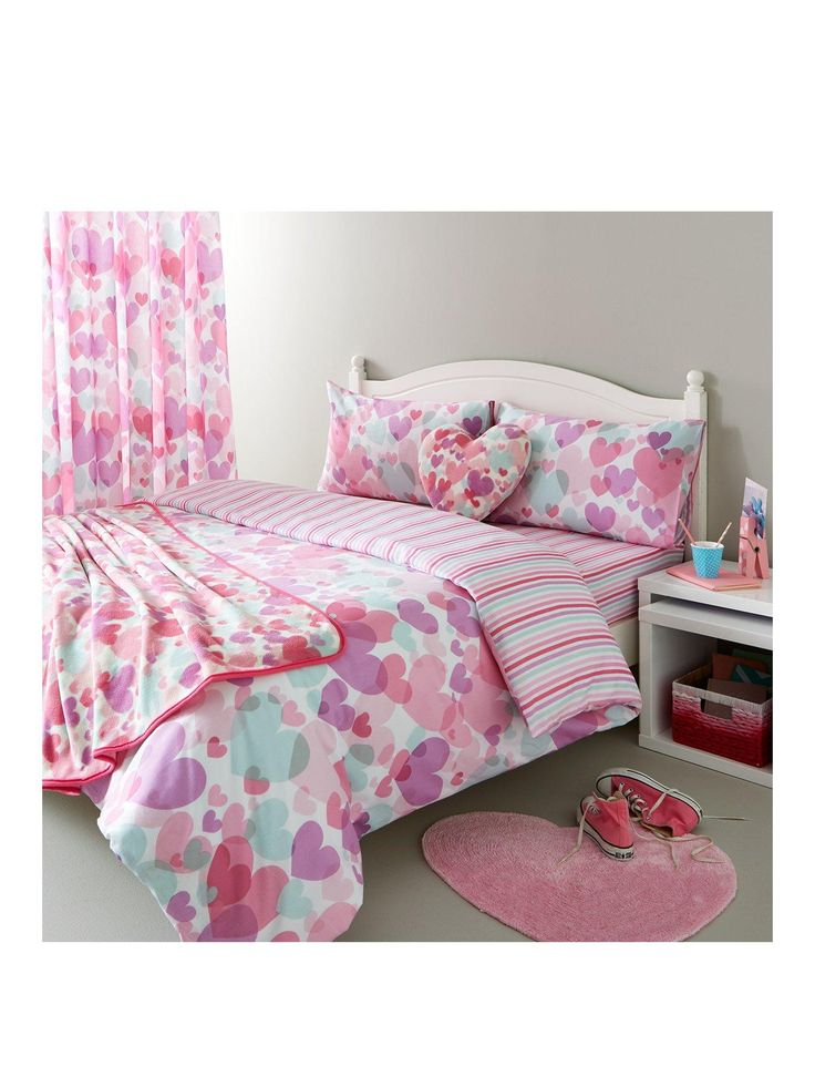 catherine lansfield pastel hearts cotton rich duvet cover set