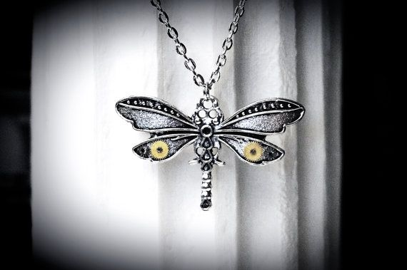Steampunk Jewelry Pendant Dragonfly Wedding birthday anniversary Gorgeous Gift for woman wife friend daughter burning man style