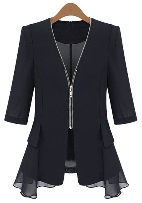 Black Plain Zipper Chiffon Blazer