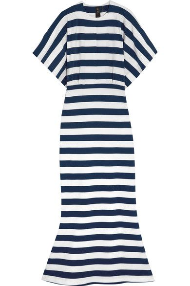 Norma Kamali | Obie striped stretch-cotton jersey maxi dress | NET-A-PORTER.COM