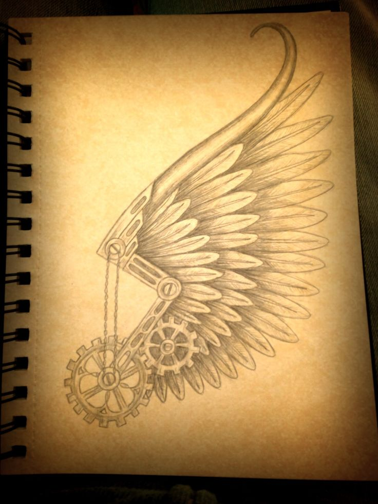 Steampunk Hermes wing tattoo design