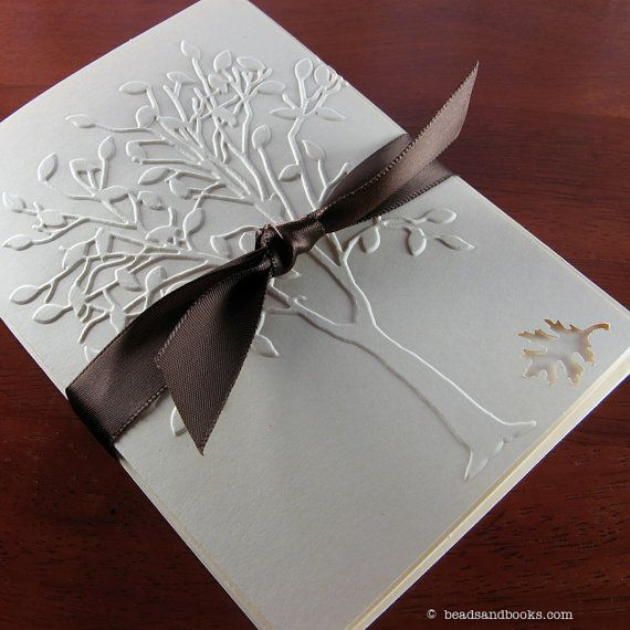 Fall Cards Tree with Leaf Autumn by michellemach on Etsy, $8.00