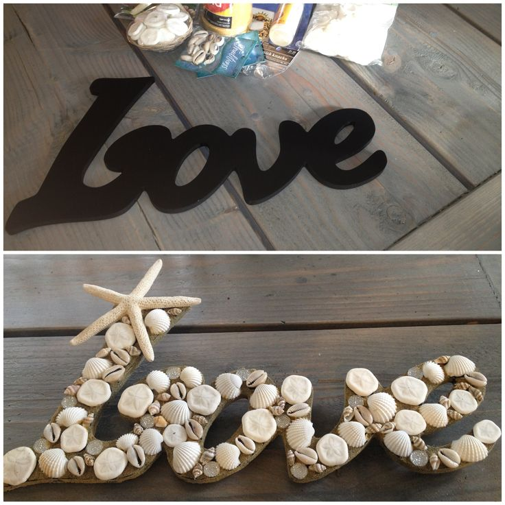#Beach #Wedding Decor- #Seashell Love Sign. Re-pinned from Forever Friends Fine Stationery  Favors http://foreverfriends.carlsoncraft.com