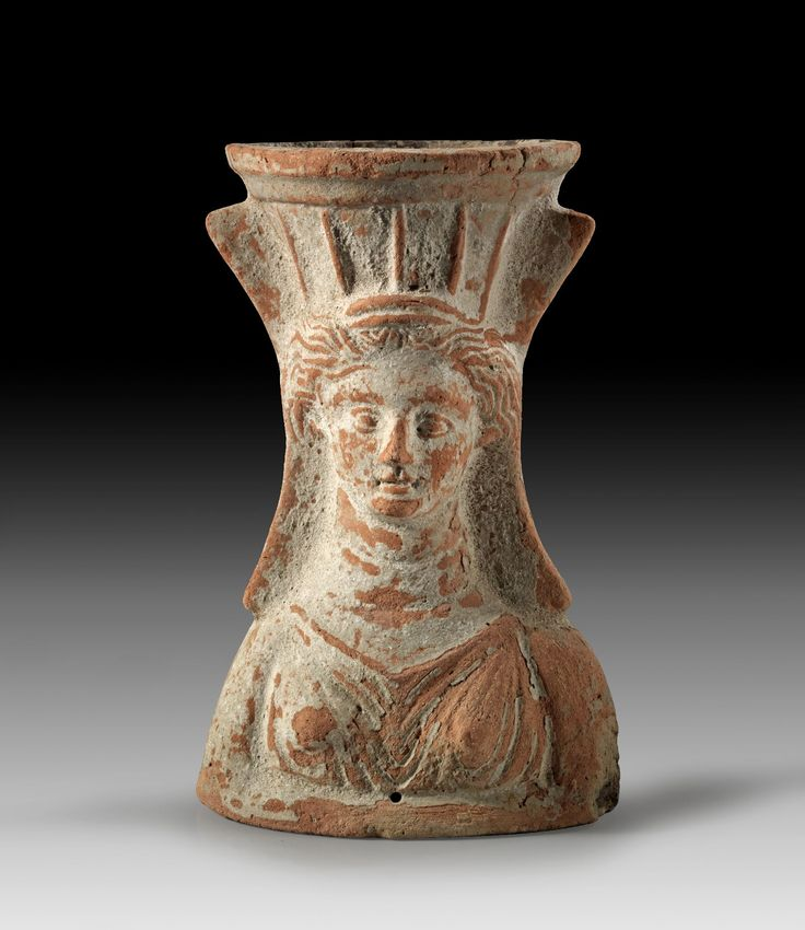 Punic terracotta incense burner in the form of a female bust with kernophoros, North Africa, 3rd-2nd century B.C. 18 cm high. Private collection