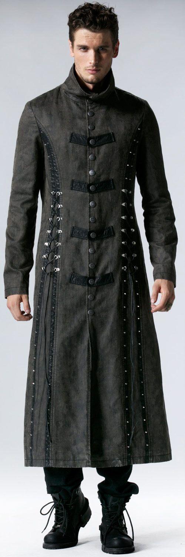Remis en stock / Back in stock: Long manteau gris avec lacage Steampunk Punk Rave Y-548 Prix: 164.90 #new #nouveau #japanattitude #jackets #coats #vestes #manteaux #gothique #gothic #steampunk #punk #rave #punkrave #y548gy #elegant #aristocrate #homme #gris #coton #polyester