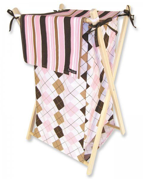 "Prep School Pink Kids Hamper (Pink and Brown Argyle) (27""H x 15""W x 2""D)"