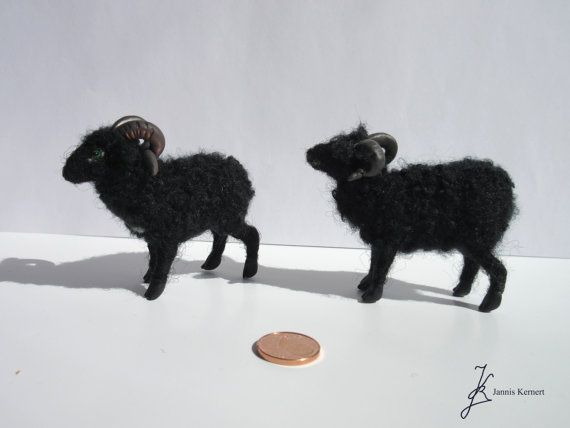 Needle Felted Horned Black Sheep in Scale by KernertJuergeneering