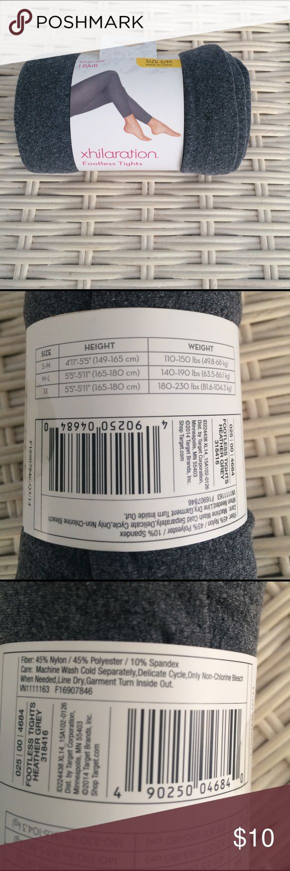 NWT XHILARATION GREY FOOTLESS TIGHTS SIZE S/M New with tag/package grey footless tights made by xhilaration Xhilaration Accessories Hosiery & Socks