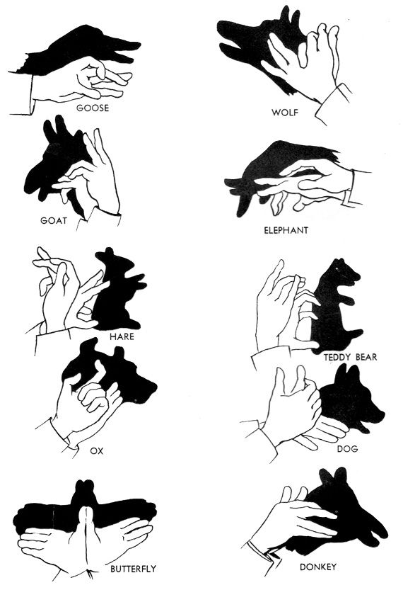Shadows with the hands in Entertainment, books and tales