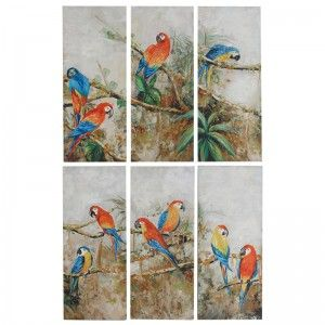 Set of 6 Wall Panels with Parrrots
