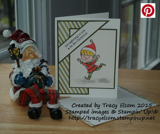 Watercoloured elf Christmas card using the Christmas Cuties Stamp Set from the Stampin' Up! 2015 Holiday Catalogue.  http://tracyelsom.stampinup.net